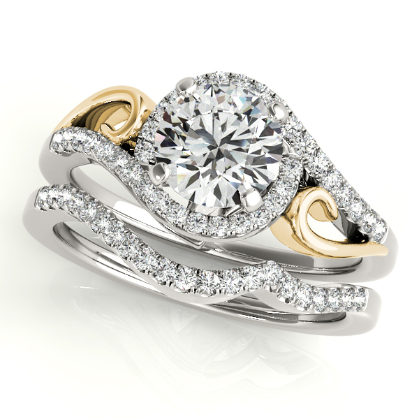 Swirl Halo Diamond & Solid Filigree Two-Tone Engagement Ring & Wedding Band