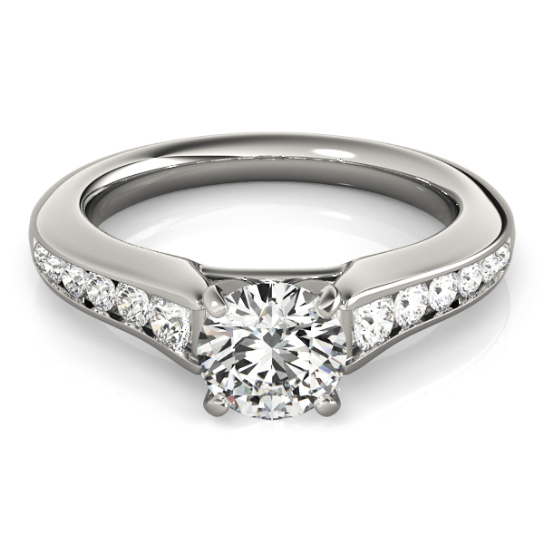 Graduated Diamond Cathedral Classic Engagement Ring in White Gold