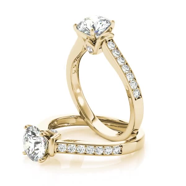 Diamond Channel Set Engagement Ring with Surprise Diamond Accent Yellow Gold