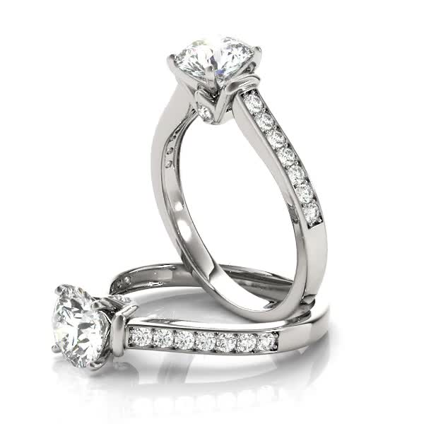 Diamond Channel Set Engagement Ring with Surprise Diamond Accent