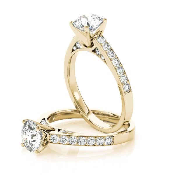 Diamond Pave Set Engagement Ring with Channel Set Accents Yellow Gold