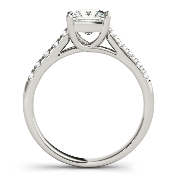 Petite Princess Cut Diamond Cathedral Trellis Engagement Ring