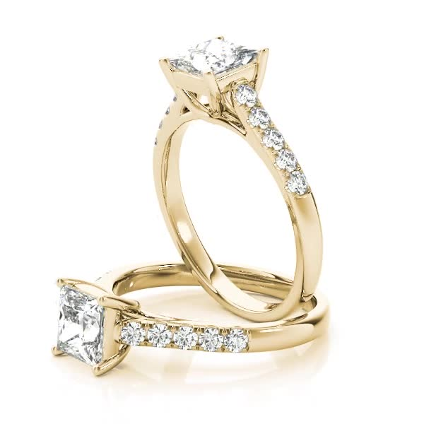 Petite Princess Cut Diamond Cathedral Trellis Engagement Ring Yellow Gold
