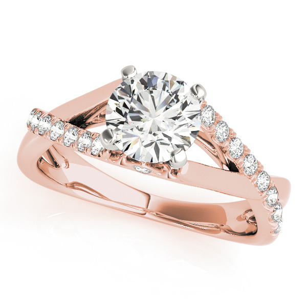 Intertwined Diamond Cathedral Engagement Ring & Wedding Band in Rose Gold
