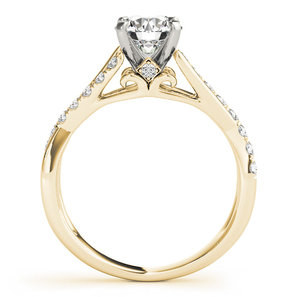 Intertwined Diamond Cathedral Engagement Ring in Yellow Gold