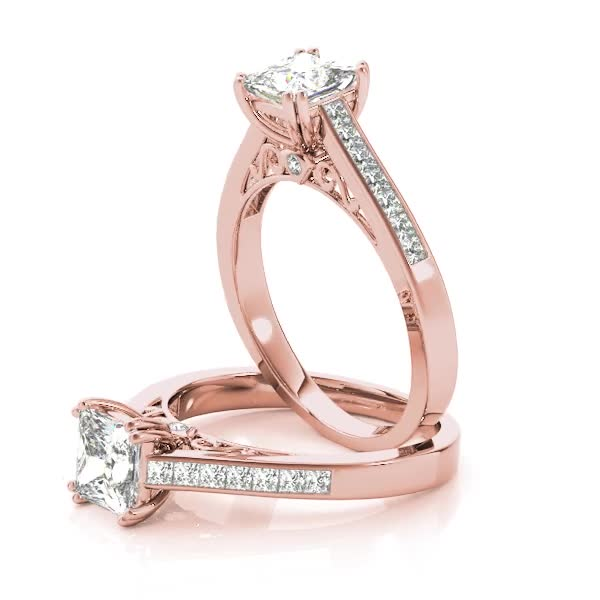 Princess Cut Diamond Cathedral Engagement Ring with Filigree in Rose Gold