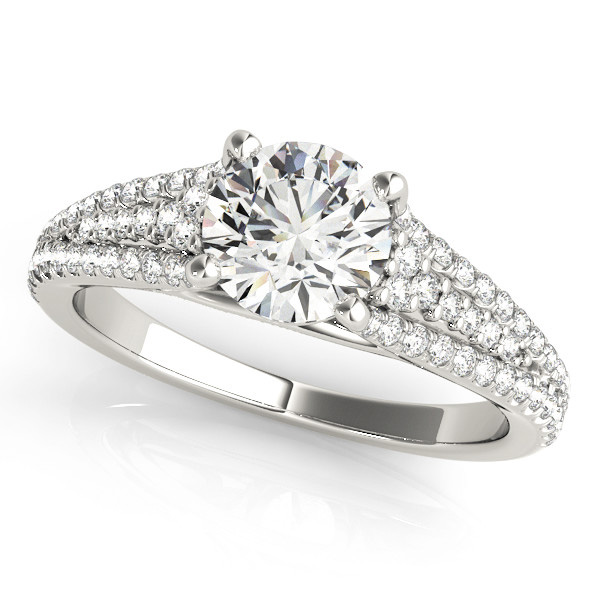 Tapered Multi-Row Cathedral Diamond Engagement Ring