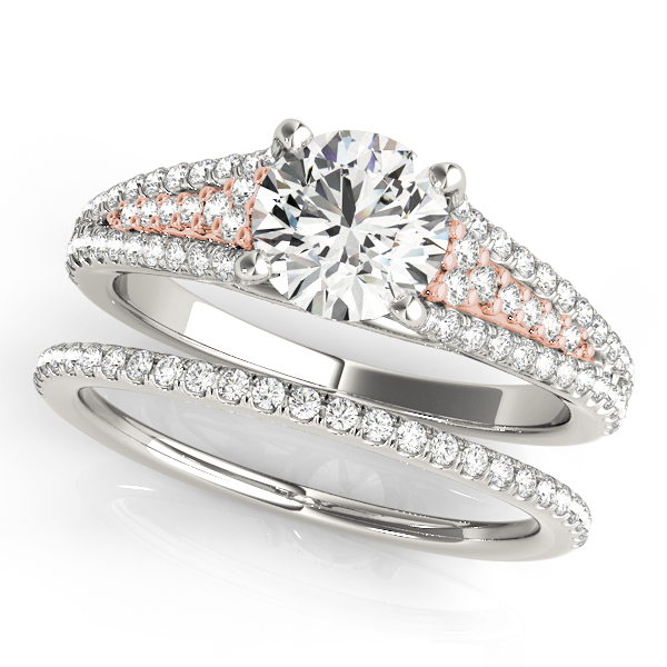 Two-Tone Tapered Multi-Row Cathedral Diamond Engagement Ring & Wedding Band.