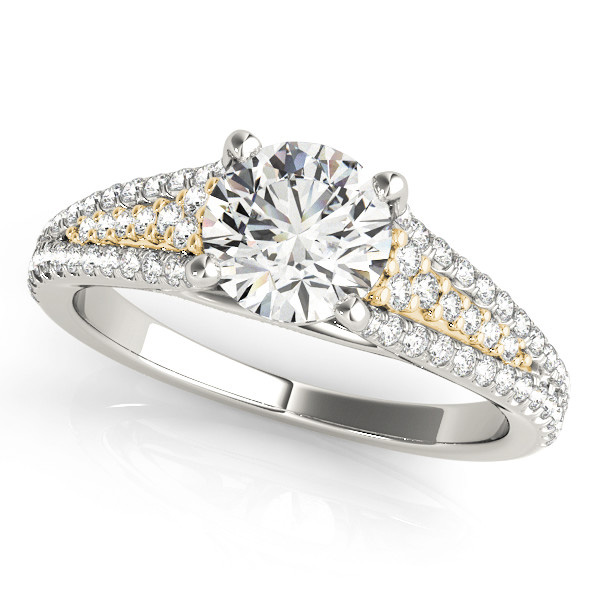 Tapered Multi-Row Cathedral Diamond Engagement Ring in Yellow Gold