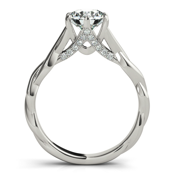 Petite Diamond Solitaire Intertwined Engagement Ring with Diamond Accents