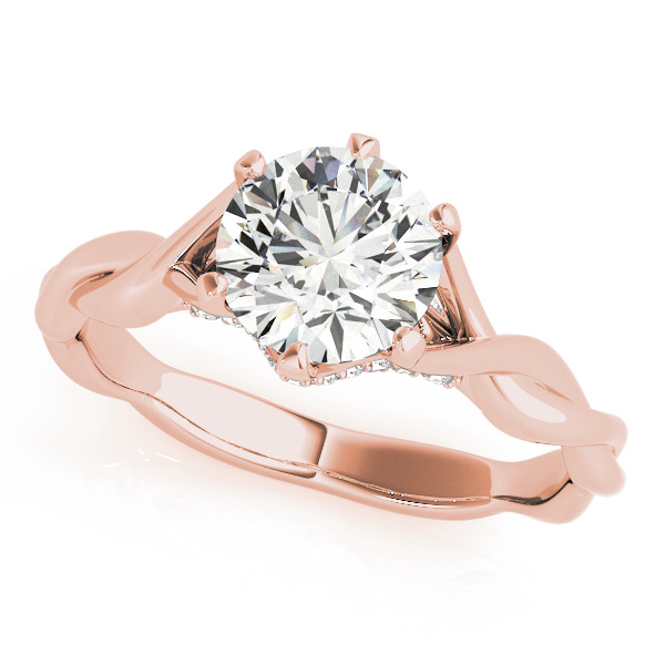 Petite Diamond Solitaire Intertwined Bridal Set with Diamond Accents in Rose Gold