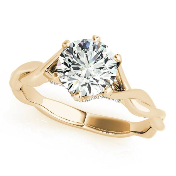 Petite Diamond Solitaire Intertwined Engagement Ring with Diamond Accents in Yellow Gold