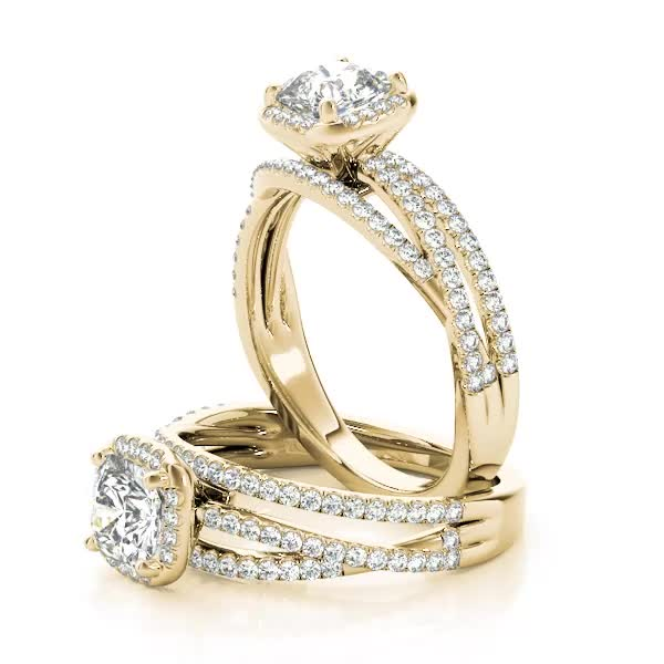 Cushion Cut Up & Over Halo Diamond Engagement Ring Yellow Gold