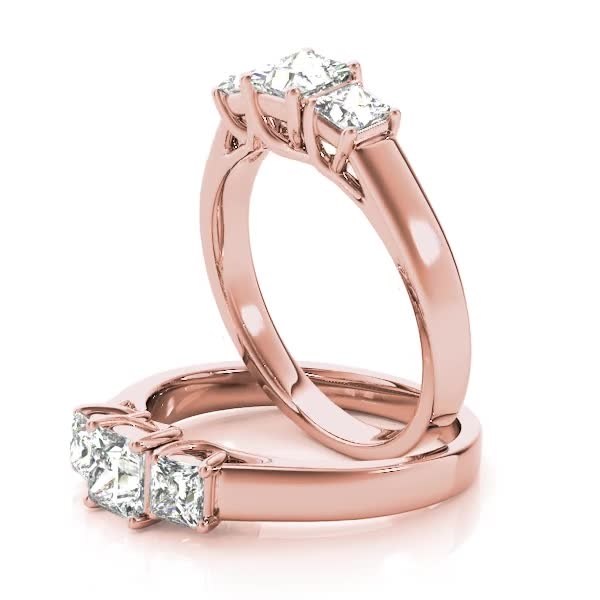 Three Stone Princess Cut Diamond Engagement - Anniversary Trellis Ring in Rose Gold