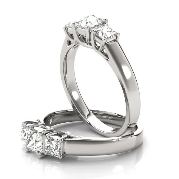 Three Stone Princess Cut Diamond Engagement - Anniversary Trellis Ring in White Gold