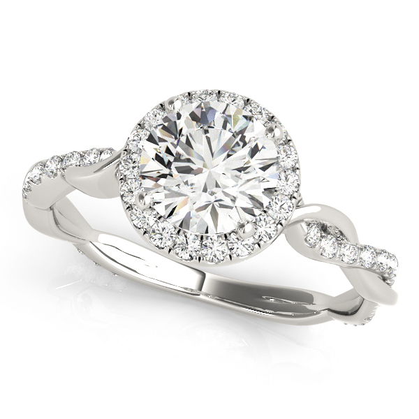 Petite Crown Halo Diamond Engagement Ring with Intertwined Band