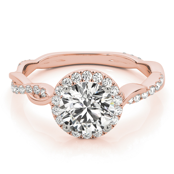 Petite Crown Halo Diamond Engagement Ring with Intertwined Band in Rose Gold