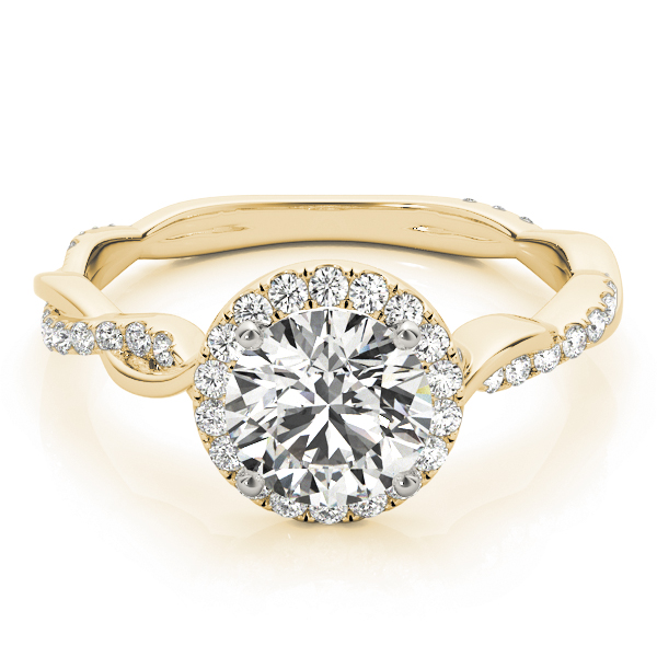 Petite Crown Halo Diamond Engagement Ring with Intertwined Band in Yellow Gold