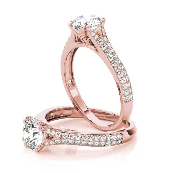 Petite Double Row Diamond Engagement Ring Split Band with Flower Filigree in Rose Gold