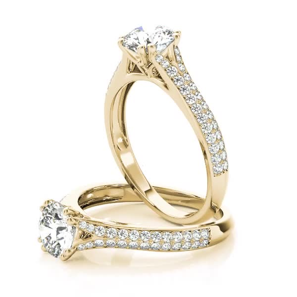 Petite Double Row Diamond Engagement Ring Split Band with Flower Filigree Yellow Gold