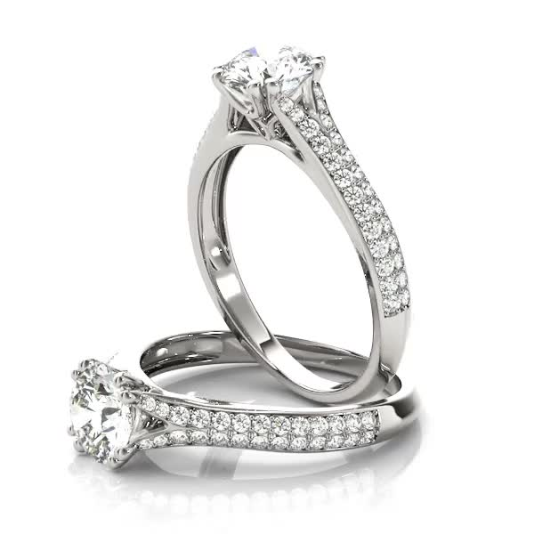 Petite Double Row Diamond Engagement Ring Split Band with Flower Filigree