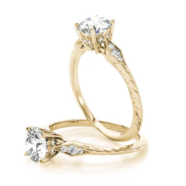 Petite Knife-Edge Engraved Engagement Ring Yellow Gold