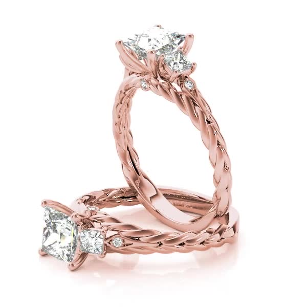 Three Stone Princess Cut Diamond Rope Engagement Ring & Wedding Band