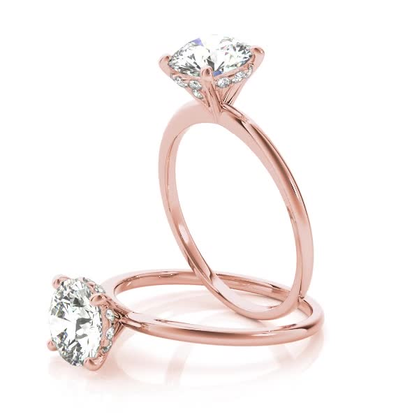 Delicate Solitaire Engagement Ring Side Halo Rose Gold