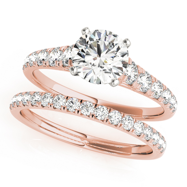 Diamond Cathedral Journey Engagement Ring & Matching Wedding Band in Rose Gold