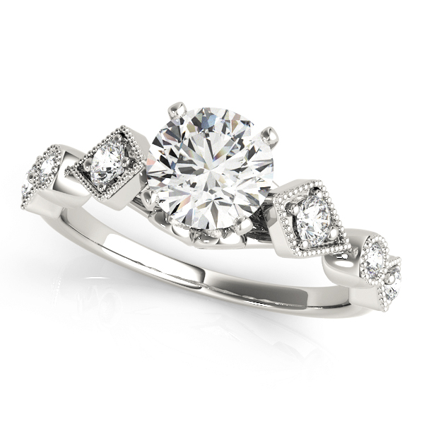 Cathedral Bezel & Prong Set Diamond Engagement Ring with Miligrain