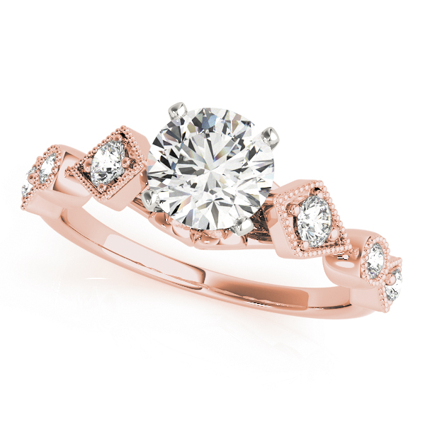 Cathedral Bezel & Prong Set Diamond Bridal Set with Miligrain in Rose Gold