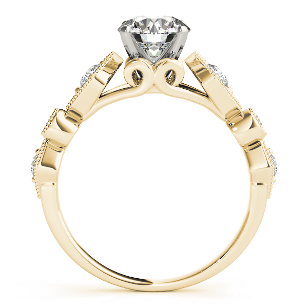 Cathedral Bezel & Prong Set Diamond Engagement Ring with Miligrain in Yellow Gold