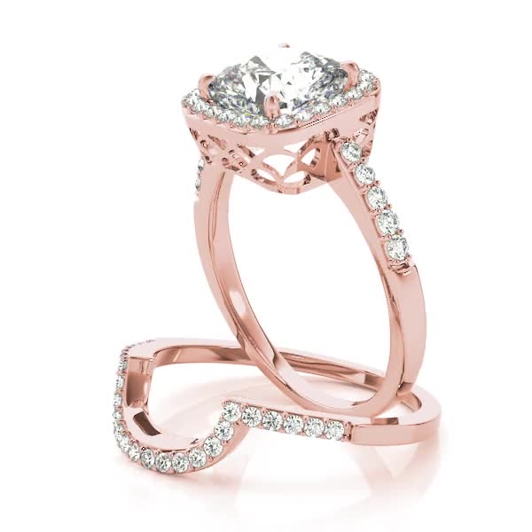 Cushion Diamond Halo Bridal Set with Fish Tail Filigree Design in Rose Gold