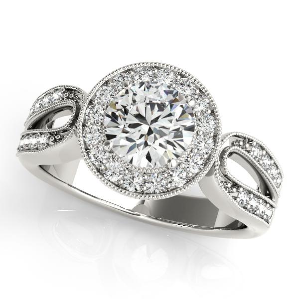 Diamond Halo Engagement Ring With Split Horseshoe Band