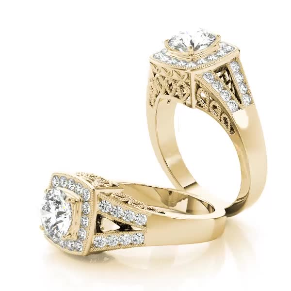 Square Diamond Halo Engagement Ring with Split Band & Filigree Accents Yellow Gold