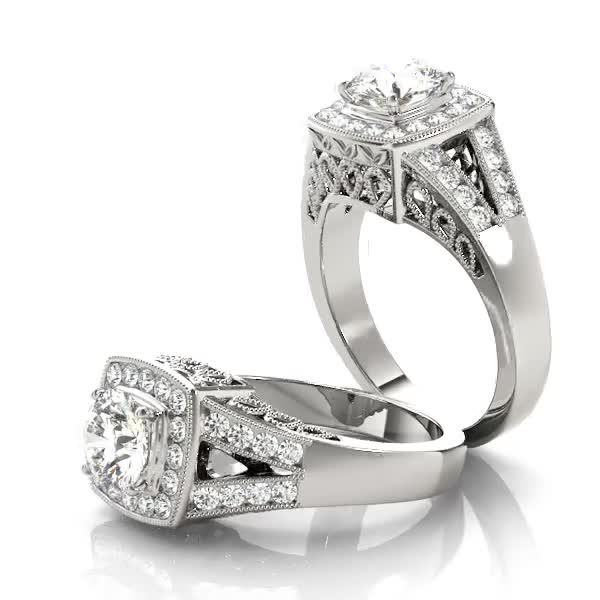 Square Diamond Halo Engagement Ring with Split Band & Filigree Accents