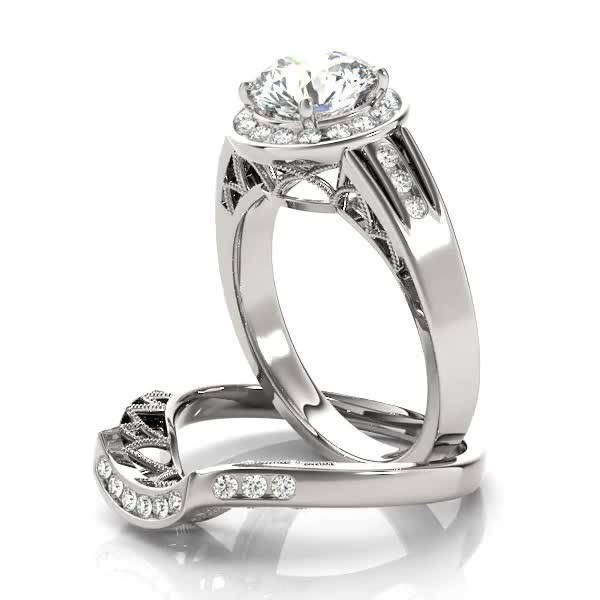 Diamond Halo Engagement Ring with Filigree & Split-Band