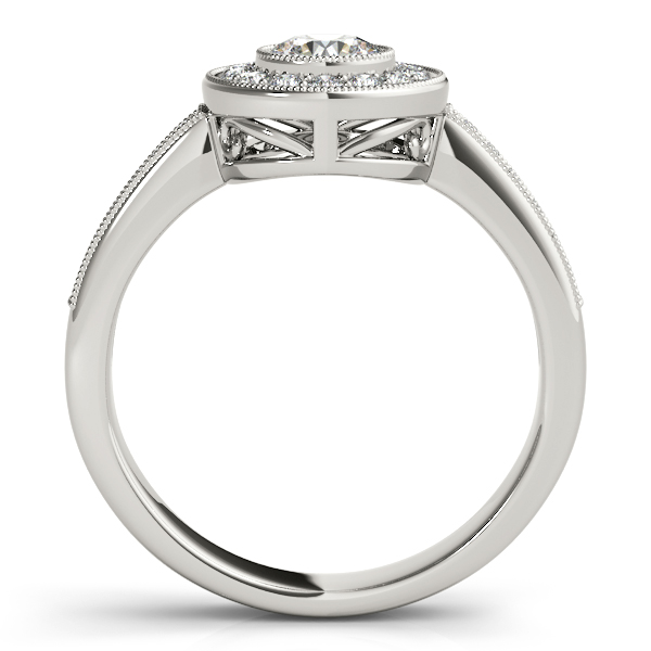 Diamond Halo Engagement Ring with Filigree