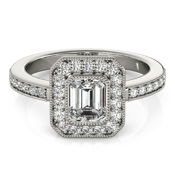 Emerald Cut Diamond Engagement Ring with Filigree