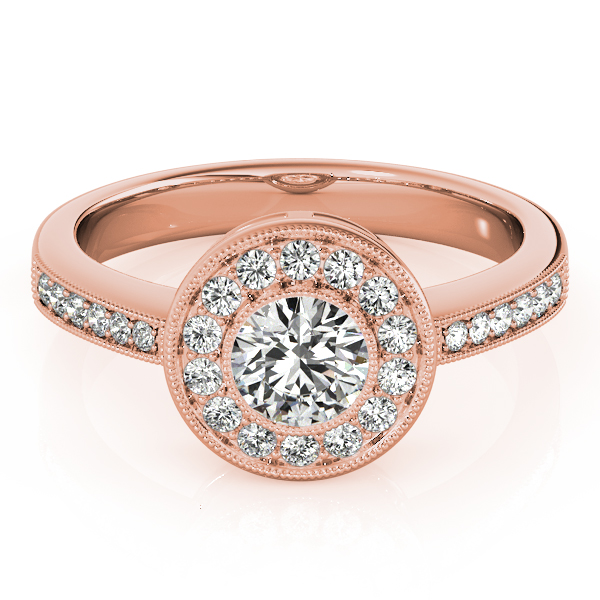Diamond Halo Engagement Ring with Filigree in Rose Gold