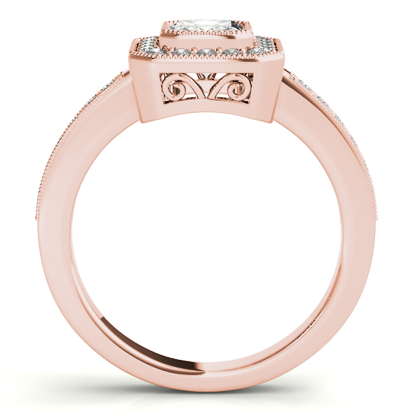 Emerald Cut Diamond Engagement Ring with Filigree in Rose Gold