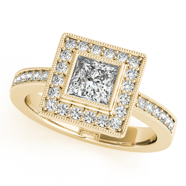 Princess Cut Diamond Engagement Ring with Filigree in Yellow Gold
