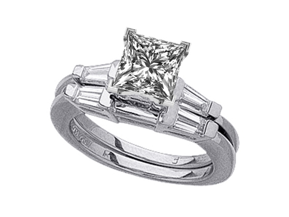 Princess Diamond Engagement Ring Tapered Baguette Diamond Accents & Matching Wedding Band, Platinum