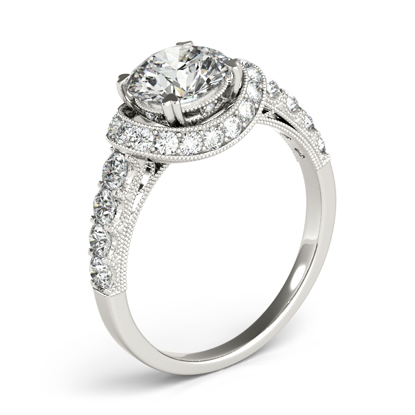 Vintage Collar Diamond Halo Engagement Ring with Filigree & Milligrain Design