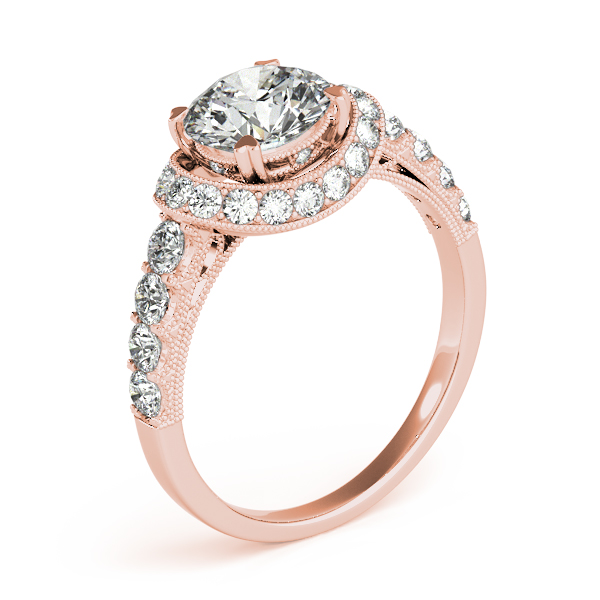 Vintage Collar Diamond Halo Engagement Ring with Filigree & Milligrain Design in Rose Gold