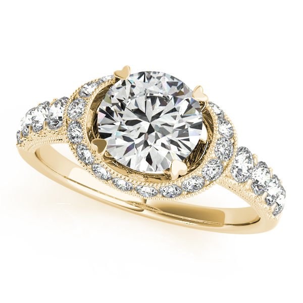 Vintage Collar Diamond Halo Engagement Ring with Filigree & Milligrain Design in Yellow Gold