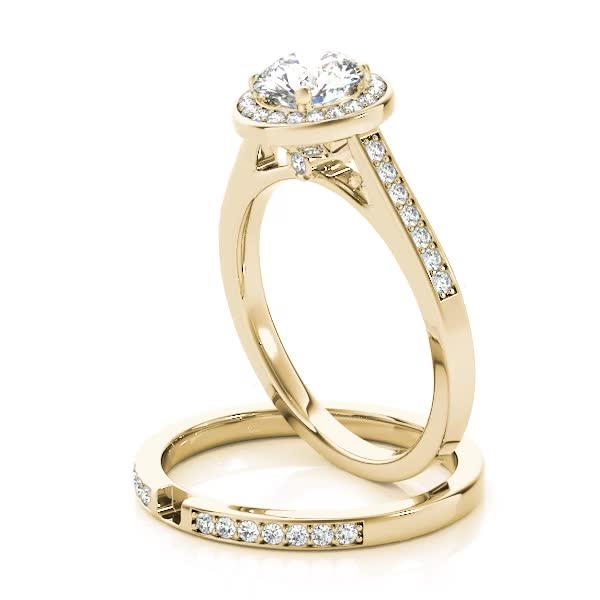 Halo Diamond Cathedral Bridal Set with Surprise Diamond Yellow Gold