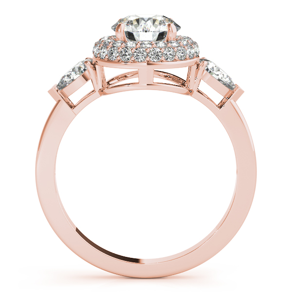 Double Halo Three Stone Diamond Engagement Ring with Pear Shape Diamond Accents in Rose Gold
