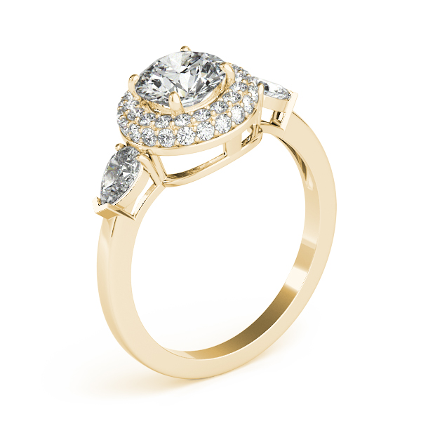 Double Halo Three Stone Diamond Engagement Ring with Pear Shape Diamond Accents in Yellow Gold