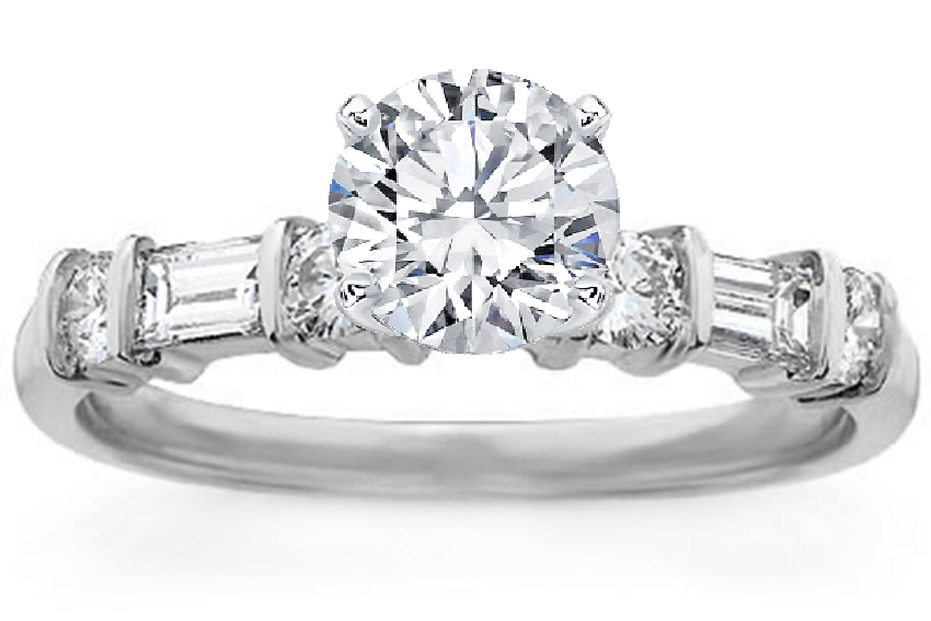 Round and Baguette Diamond Accents Engagement Ring 0.32 tcw.